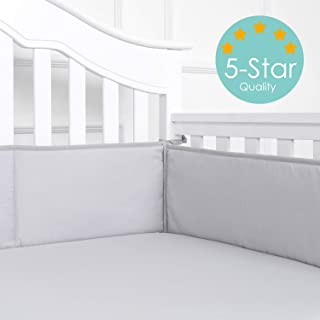 TILLYOU Baby Safe Crib Bumper Pads for Standard Cribs Machine Washable Padded Crib Liner Thick Padding for Nursery Bed 100% Silky Soft Microfiber Polyester Protector de Cuna, 4 Piece/Gray