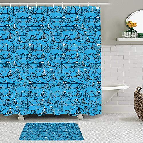 SUDISSKM de alfombras de baño con Cortinas de Ducha Alfombrillas de baño Antideslizantess,Bicicletas de Estilo de Dibujos Animados Antiguos sobre Fondo Azul Patrón Retro con Ruedas