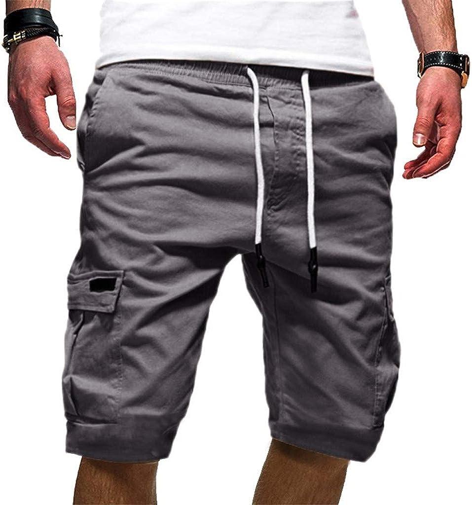 Forthery Men's Wrinkle-Free Sweatpants Lightweight Drawstring Zipper Pockets Workout Running Shorts
