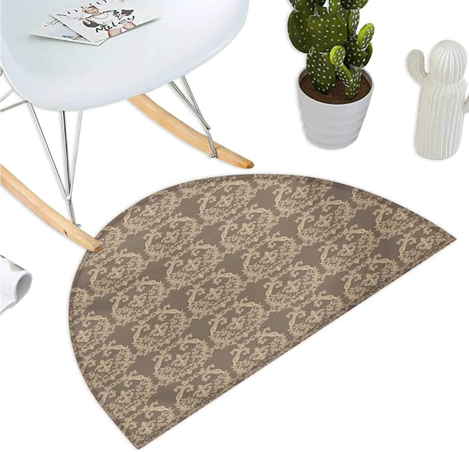 Taupe Semicircular Cushion Royal Victorian Botanical Design Exquisite Floral Figures Historic Pattern Halfmoon doormats H 43.3  xD 64.9  Warm Taupe Sand Brown