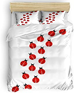 MIGAGA Twin Size Cute Duvet Cover Set Twill Plush Kids Bed Sheet Set for Boys Girls,Include 1 Duvet Cover 1 Bed Sheets 2 Pillow Case,Red Ladybug Cartoon Animal Pattern 4 Pieces Bedding Set