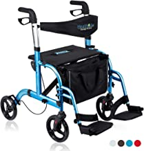 Health Line 2 in 1 Rollator-Transport Chair w/Paded Seatrest, Reversible Backrest and Detachable Footrests, Sky Blue