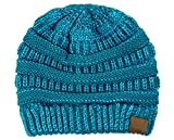 C.C Trendy Warm Chunky Soft Stretch Cable Knit Beanie Skully, Teal Metallic