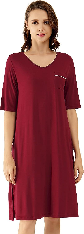 WiWi Women's Nightgowns Soft Bamboo Pajamas 3/4 Sleeves Sleep Shirt Lightweight Nightshirts Plus Size Sleepwear S-4X