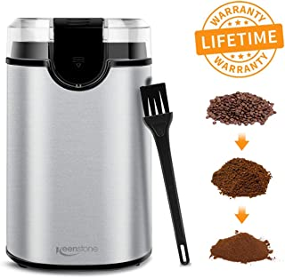 Coffee Grinder Electric, Spice Grinder Blade Grinders with Powerful Stainless Steel Blades and Cleaning Brush for Large Grinding Coffee Beans, Seed Nuts, Grains, Spices Herb Pepper【Lifetime Warranty】