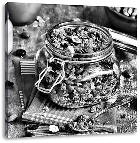 Honing granola in een kruikCanvas Foto Plein | Maat: 60x60 cm | Wanddecoraties | Kunstdruk | Volledig gemonteerd