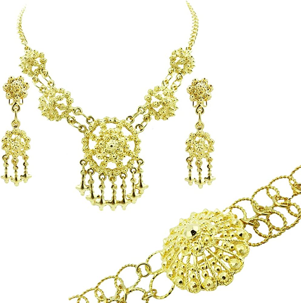 Siwalai Thai Traditional Gold Plated Necklace Earrings Belt Jewelry Set