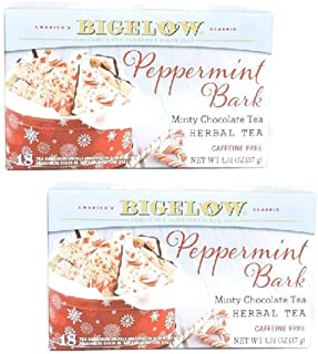 Bigelow Peppermint Bark Mint Chocolate Herb Tea (Pack of 2)