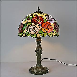 DSMGLRBGZ Lampe De Bureau Vintage Verre Vert Base Lampe Art Deco Chambre pour Salon Table De Bureau À Domicile Lecture, Ne...