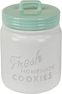 DII Vintage, Retro, Farmhouse Chic Mason Jar Inspired Ceramic Kitchen Canister, Cookie Jar with Airtight Lid for Food Storage, Store Cookies, Crackers, Chips and More - Aqua
