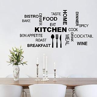 decalmile Pegatinas de Pared Letras Cocina Vinilos Decorativos Comida Cuchillo Tenedor Cuchara Adhesivos Pared Sala de Estar Comedor de Cafetería