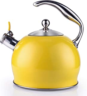 Tea Kettle Best 3 Liter induction Modern Stainless Steel Surgical Whistling Teapot -Tea Pot For Stove Top (3L, Yellow)