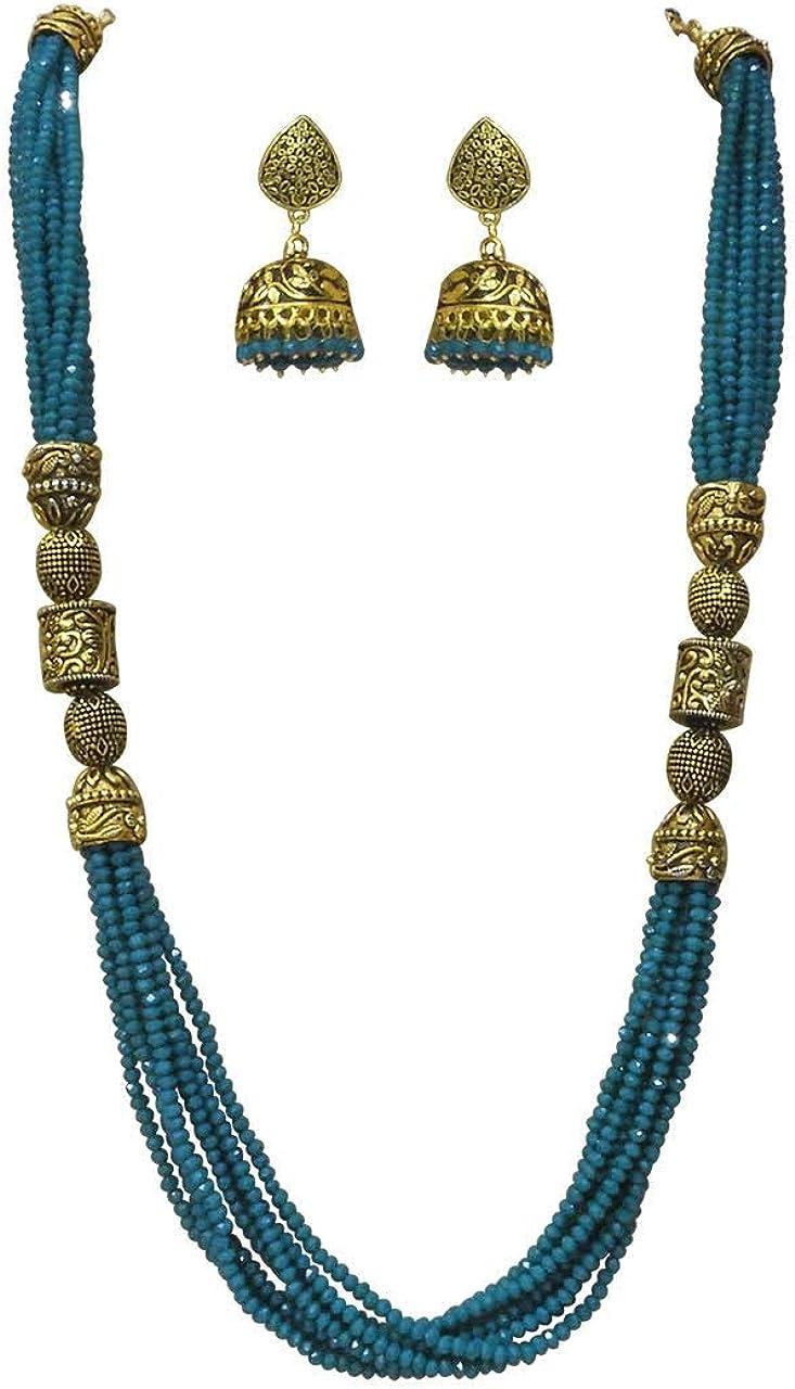 Babosa Sakhi Antique Bead Necklace Blue Onyx Designer Indian Jhumki Jewelry Set