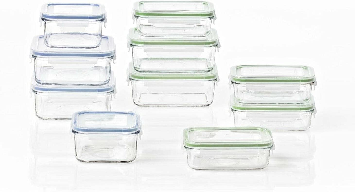 20 Piece Clear Glass Microwave Contai Container Indianapolis Mall Set Food Discount mail order Storage
