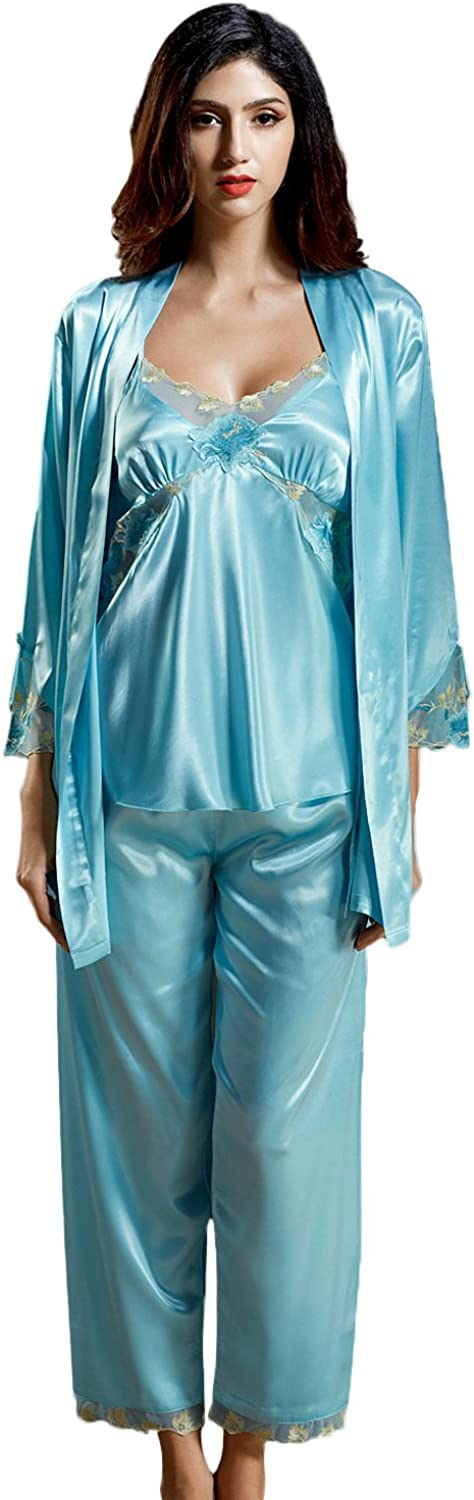 Insun Women's Lace V Neck Strappy Tops 3 Piece Robe and Pajamas Set