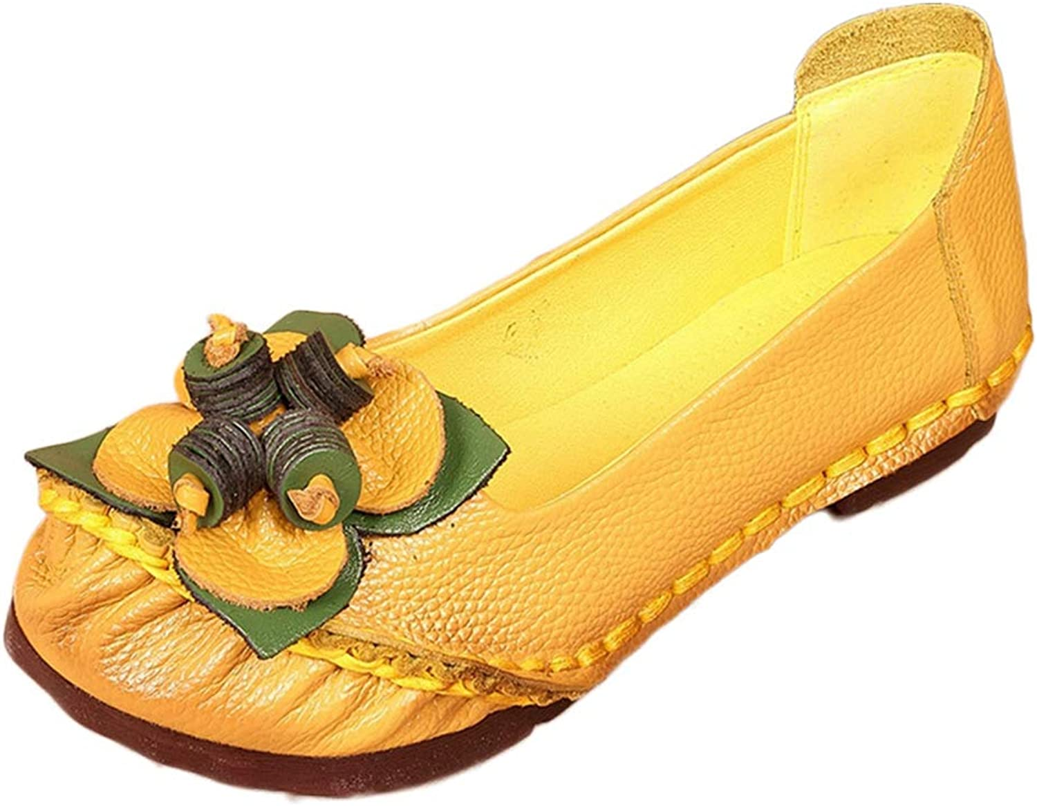 CYBLING Women's Comfort Leather Loafers Flower Slip On Driving Walking Flats Moccasins shoes