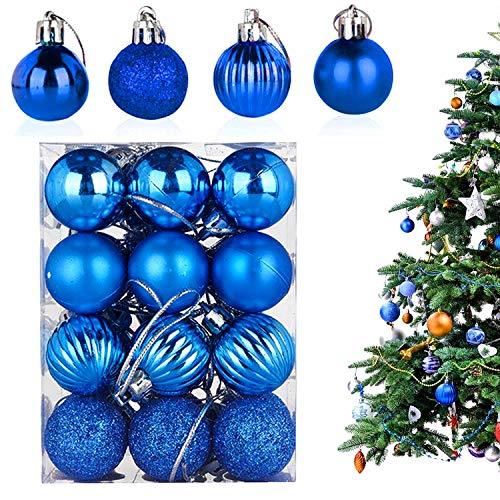 WELLXUNK® Palline di Natale, 24pcs Albero di Natale Palla Decorazioni, Palline di Natale Opache, Palline di Natale Infrangibili, Palle infrangibili per Decorazioni Natalizie da Appendere (Blu)