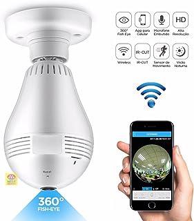 Camera Lampada Alta Definicao 360 Panoramica Espia Wifi Ip Seguraca Vr V380