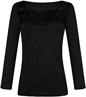 Loyomobak Women's Long-Sleeve Casual Shirts Plain Slim Lace Flowy Tee Shirts Blouse Top