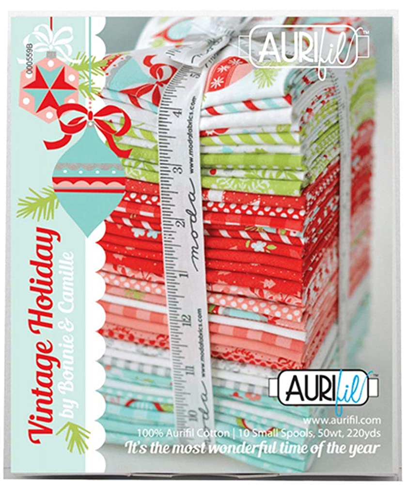 Bonnie & Camille Vintage Holiday Aurifil Thread Kit 10 Small Spools 50 Weight CR50VH10