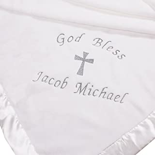 personalized white christening blanket