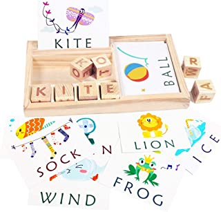 HOWADE Matching Letter Game,Wooden Develops Alphabet Words Spelling Skill Puzzle Learning Toy for Preschool Kindergarten Kids