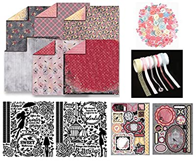 Paper Crafting Collection by Hot Off The Press | Coordinated Collection Including 12 Double-Sided Papers, Dazzles Stickers, Die-Cuts, Ribbons, and Embellishments