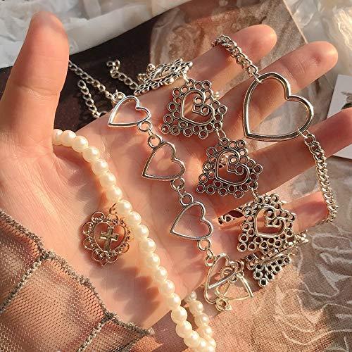 yqs Collar Mujer Muchacha Collar Gargantilla de Cadena cardíaca KPOP para Mujeres Collares Goth Collares Joyas estéticas Fiesta de Navidad niña Halloween
