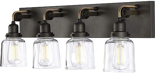wholesale Rushton Collection 4-Light Clear Glass online sale Farmhouse sale Bath Vanity Light Graphite outlet sale