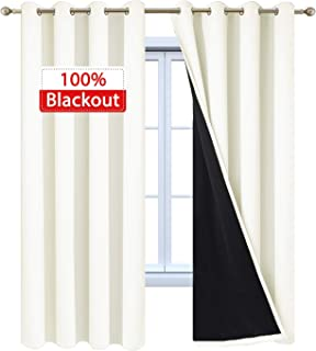 Yakamok Cream Blackout Curtain Panels 100% Blackout Lined Curtains Thermal Insulated Noise Reducing Drapes for Living Room(52Wx84L, Cream, 2 Panels)
