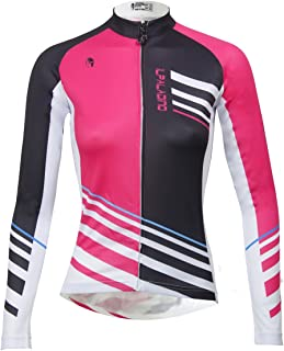 ILPALADINO Women's Cycling Jersey Long Sleeve Biking Shirt Pink and Black