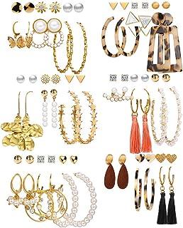 36 Pairs Fashion Earrings Packs for Women Girls, 2020 Gold Crystal Butterfly Star Pearl Tassel Acrylic Hoop Stud Drop Dang...
