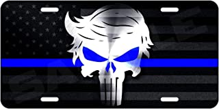 OldsNewAgain Donald Trump Punisher Police Thin Blue Line Aluminum License Plate Collectible