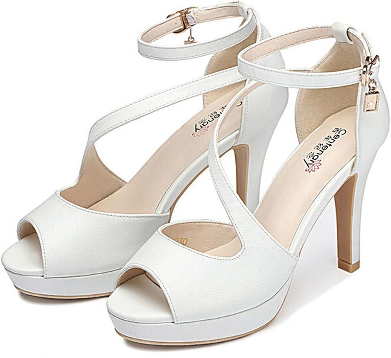 San hojas Peep Toe Heeled Sandals White Platform shoes