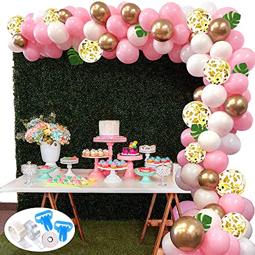 Balloon Arch Kit Garland,127Pcs Pink White Gold Confetti Balloons Pack for Girl Birthday Baby Shower Bachelorette Party Anniversary Wedding Decorations