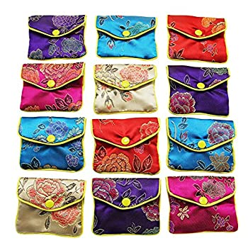MorTime Jewellery Jewelry Silk Purse Pouch Gift Bags Multiple Colors Pack of 12  Small