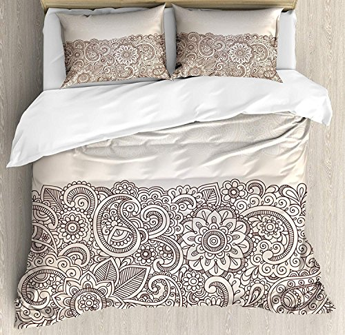 Yaoni Henna Duvet Cover Set 3 Piece Microfiber Comforter Quilt Bed Bedding Covers with Zipper, Complex Design with Mandala and Paisley Nature Inspired Traditional Victorian Revival Tan Brown