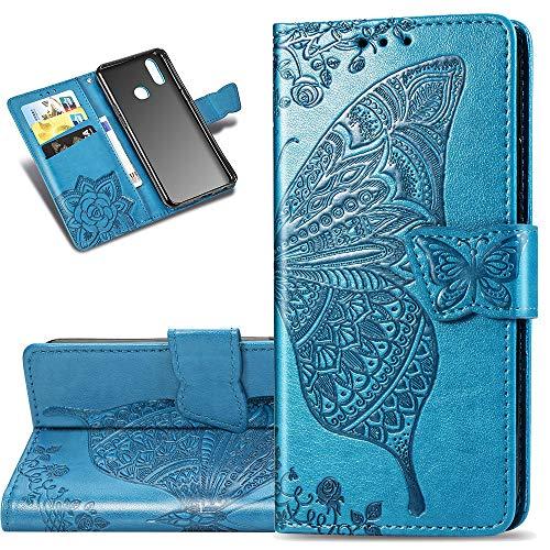 COTDINFOR Etui für Motorola Moto E6 Plus Hülle PU Leder Schutzhülle Magnet Tasche Flip Handytasche im Bookstyle Kartenfächer Lederhülle für Motorola Moto E6 Plus Flower Butterfly Blue SD