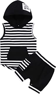 Baby Boy Fashion Clothes Sleeveless Stripes HoodieTop and Short Pants 2Pcs Summer Outfits Set