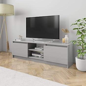 UnfadeMemory Mueble para TV Moderno,Mesa para TV,Mueble de hogar,con 2 Cajones y 2 Compartimentos Abiertos,Estilo Clásico,Madera Aglomerada (Gris Brillante, 120x30x35,5cm): Amazon.es: Hogar