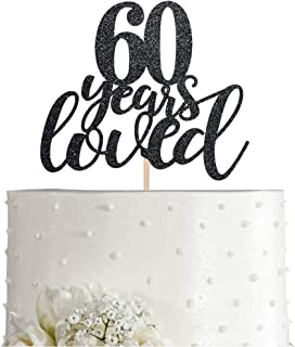 60 Black Glitter Happy 60th Birthday Cake Topper, Cheers to 60 Years Party Cake Topper Decorations, Supplies