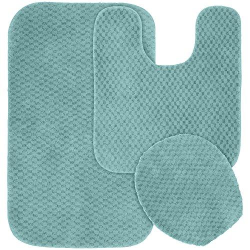 Garland Rug 3-Piece Cabernet Nylon Washable Bathroom Rug Set, Seafoam