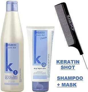 Salerm KERATIN SHOT Maintenance SHAMPOO & Deep Impact Plus Conditioner Mask DUO SET, Anti Frizz, Smoothing & Natural Keratin (W/Sleek Comb) (500 ml (18 oz) + 200 ml (6.9 oz) DUO KIT)