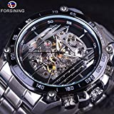 FORSINING Stainless Steel Military Sport Design Transparent Skeleton Dial Silver Automatic Watches