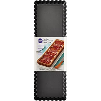 Wilton Extra Long Non-Stick Tart and Quiche Pan, the Fluted Edges on Your Tarts and Quiches will Add a Touch of Flair, 14 x 4.5-Inch