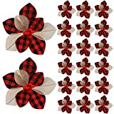 20 Poinsettia de Búfalo a Cuadros de Navidad Flores de Nochebuena Artificiales de Navidad Decoraciones de Mini Adornos de Flores de Árbol de Navidad a Cuadros (Rojo y Negro)