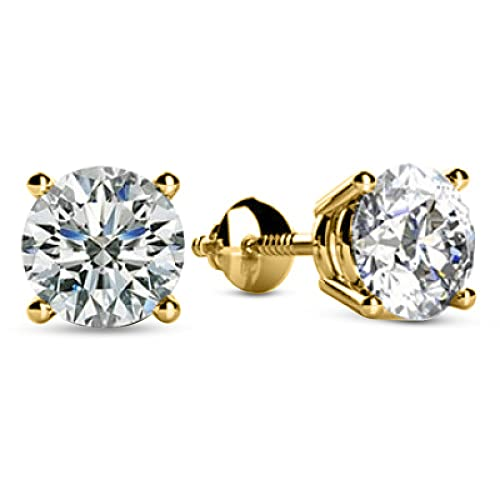 9aed6c86e 1/2-2 Carat Total Weight Round Diamond Stud Earrings 4 Prong Screw Back