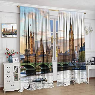 GUUVOR London 99% Blackout Curtains Sunset Scenery of The Palace of Westminster Houses of Parliament and Big Ben Image for Bedroom Kindergarten Living Room W96 x L96 Inch Multicolor