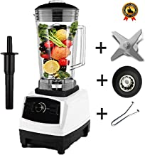 Bpa Free 2200W Heavy Duty Commercial Blender Professional Blender Mixer Food Processor Japan Blade Juicer Ice Smoothie Machine,White Full Parts1,Uk Plug