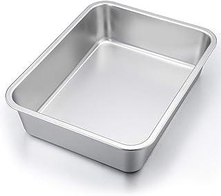 """P&P CHEF Lasagna Pan, Rectangular Cake Pan Roaster Pasta Baking Cookie Sheet Pan Stainless Steel , 12.7""""x10""""x3.2"""", Heavy D..."""